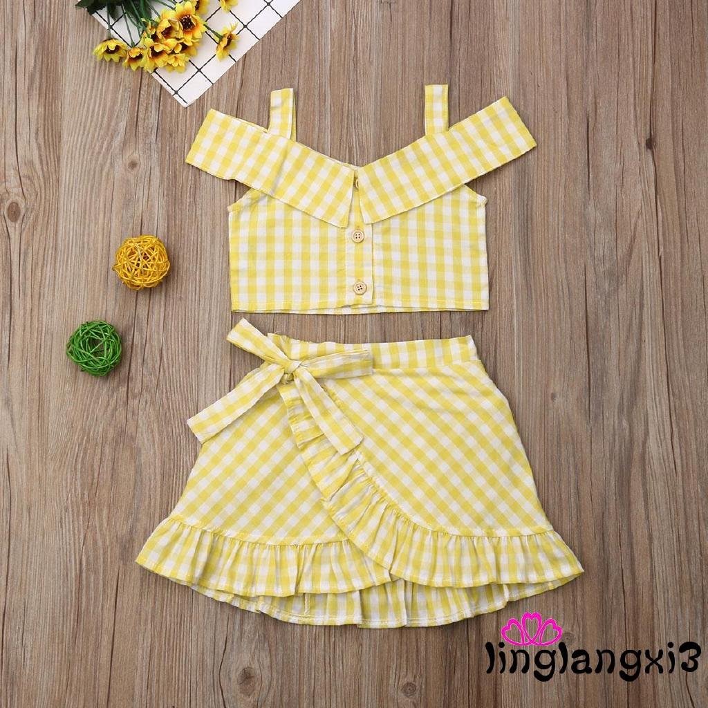 US Kids Baby Girls Sleeveless Crop Tops+Long Skirt 2PCS Summer Outfits Sundress