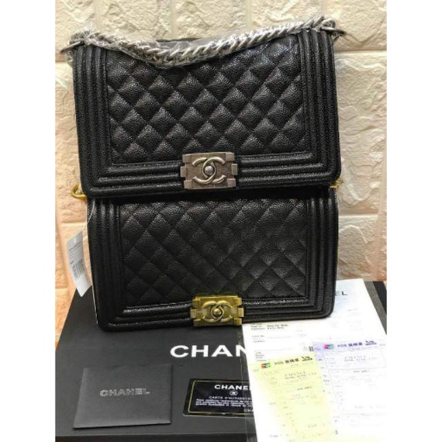 2f75dccd84e8 Chanel Le Boy Bag ⚘ Black Caviar in Gold   Silver 25cm JL304 ...