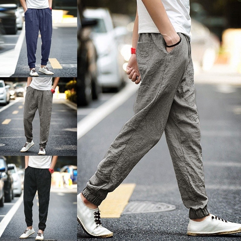 Mens Japanese Loose Harem Pants Linen Cotton Wide Leg Pants Trousers Casual New