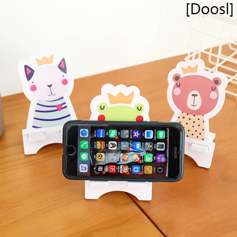 Doosl 1 Pcs Random Universal Animal Wood Cartoon Mobile Phone Holder Stand Cute Cat Dog Painting Desk Cell Phone Stand Shopee Philippines