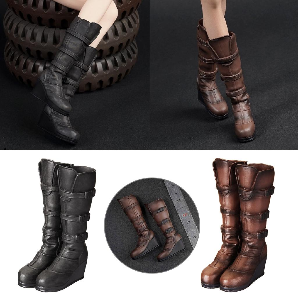 1//6th Male Figure Black Shoes Plastic Leather Shoes Boots Fit Changable Feet