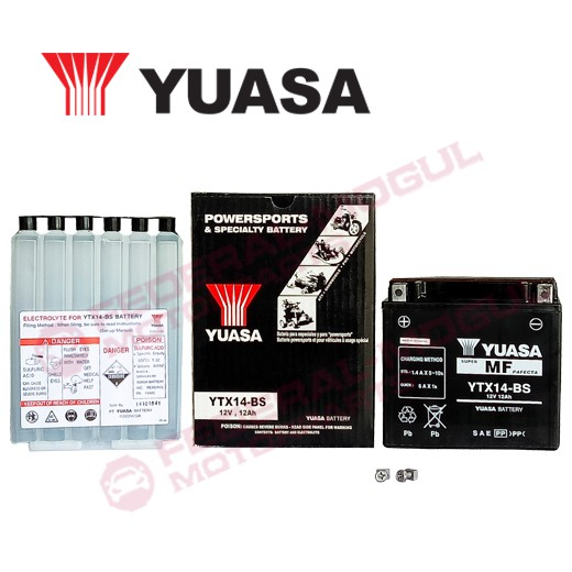 YUASA YTX14-BS Motorcycle Battery (12V-12Ah) Made in Indonesia