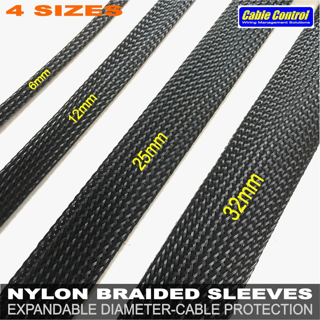 6mm x 1m GRAY Braided polyester sleeve Cable Cover 3 weave High densely Diy