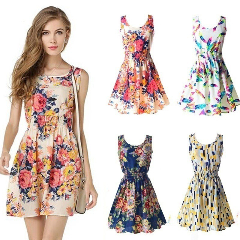beefashion Summer Casual Slim Sleeveless Floral Dress ...