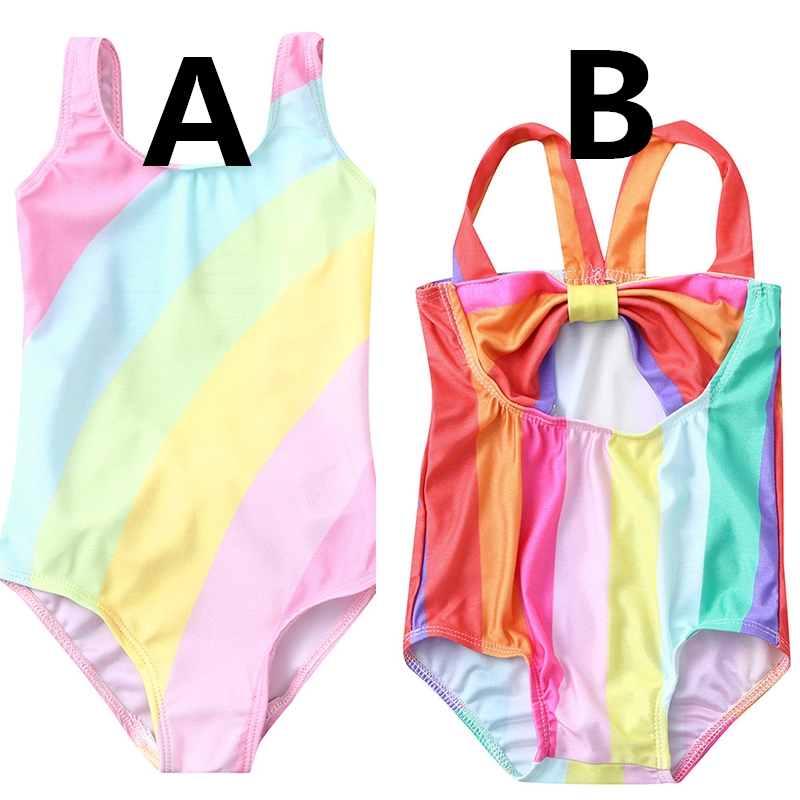 b2c7b3633e Kids Sleeveless Backless Rainbow Striped One Piece Swimsuit