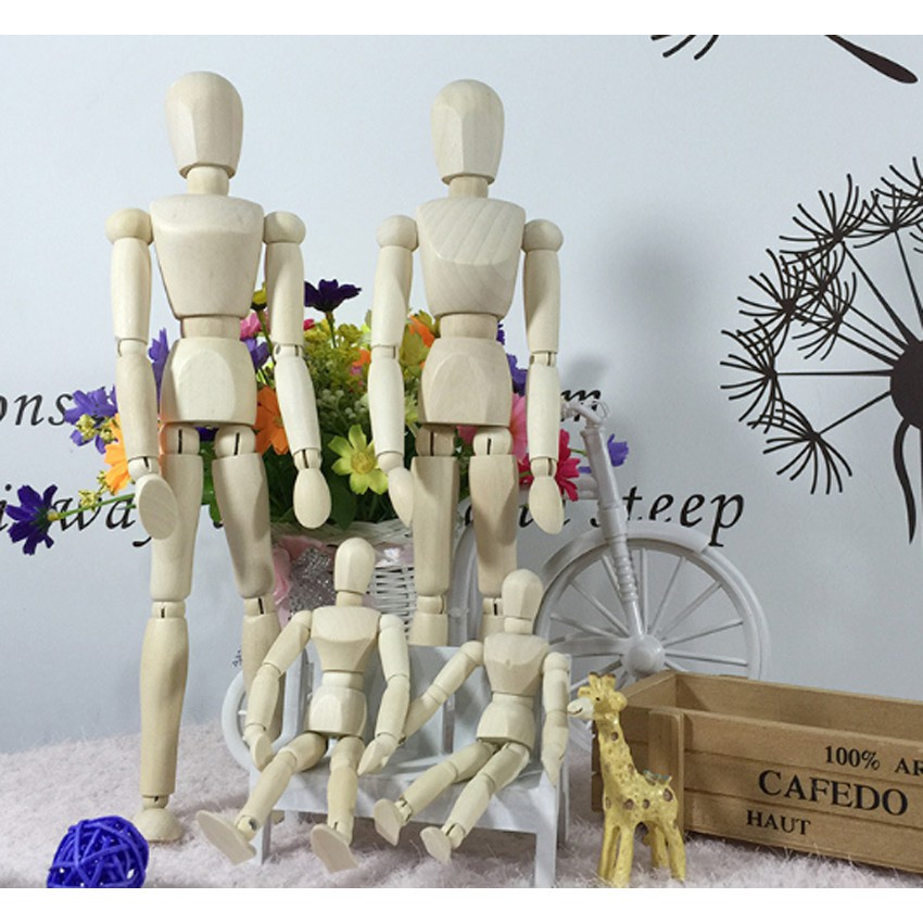 Movable Wooden Manikin Figures Jointed Doll Model Painting Artist