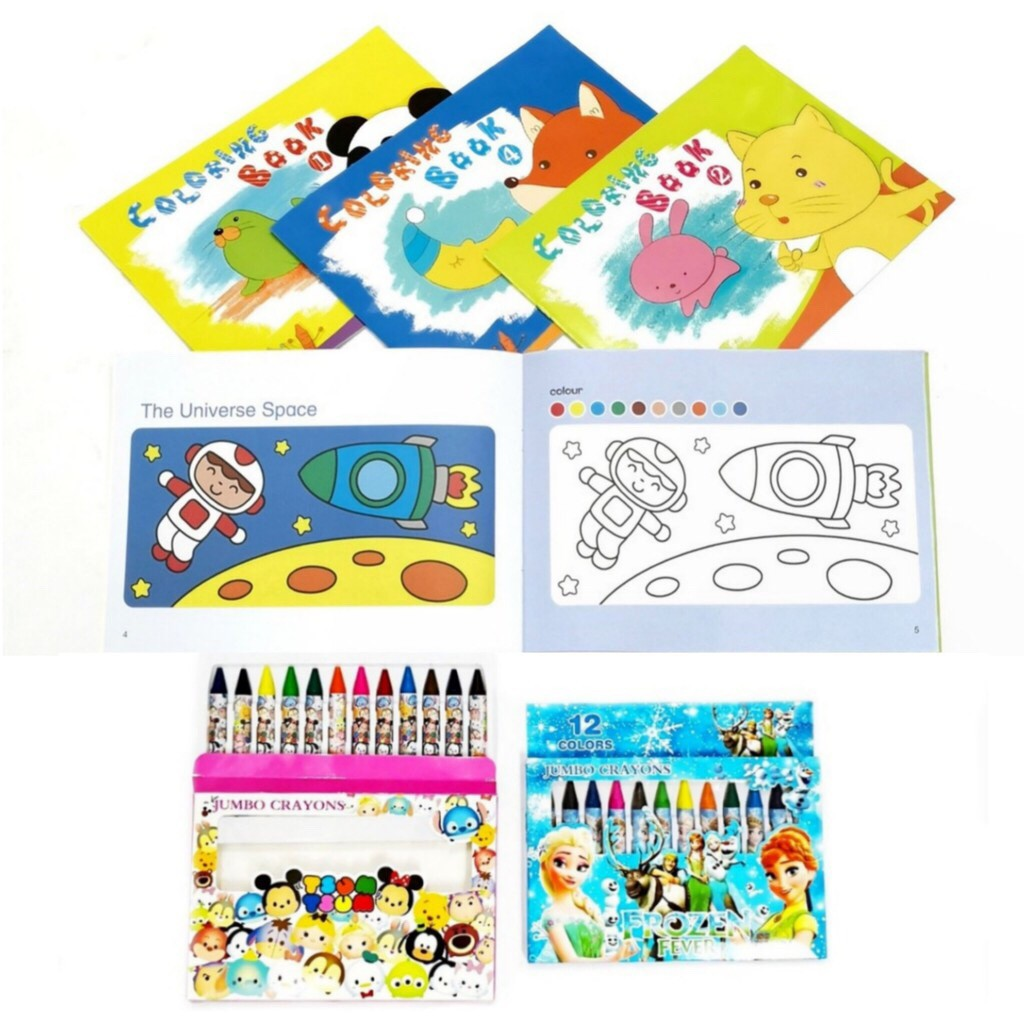 4 Coloring Books With 12 Colors Jumbo Crayons