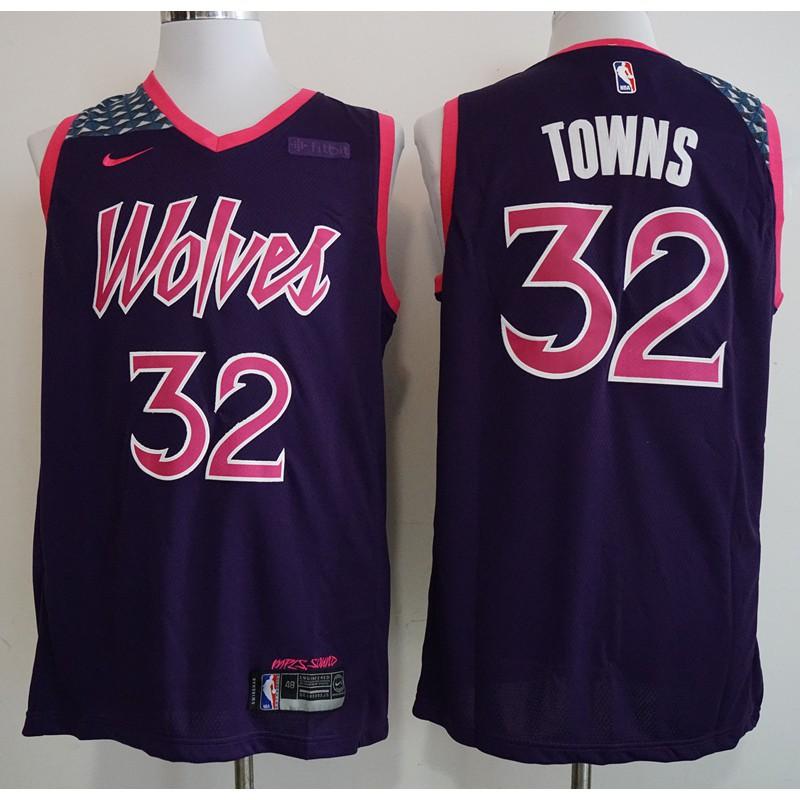 Ax Nba Jerseynew Timberwolves City Edition 32 Downs Purp