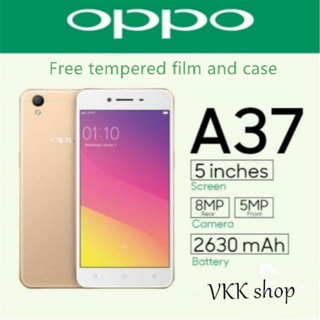 best value 5adf5 3c499 Original oppo A37 smartphone with case and tempered film