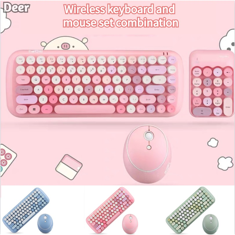 Silent Wireless Mouse and Keyboard Set Combination Retro Round Keycap Desktop Notebook Home Thin Office Typing Business Keyboard Color : White Green, Pink, White