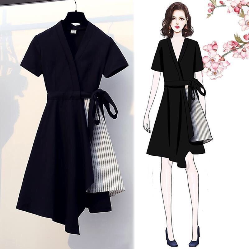Skirt length A little short] Summer large women's fashion and simple style  show thin belly covering dress yimiya Trendy women's clothing   Shopee  Philippines