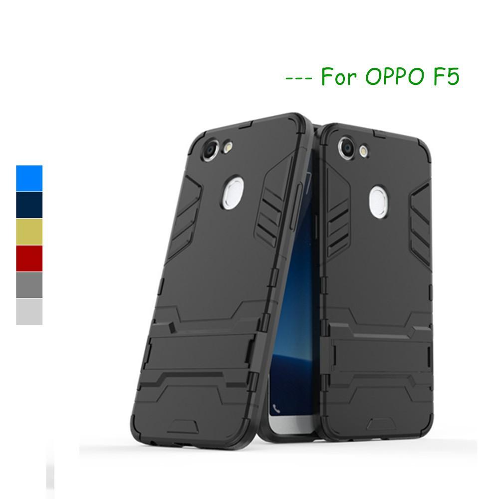 OPPO F5 Cases OPPO F5 Case Cover Soft Silicone +Plastic Kickstand Back Case