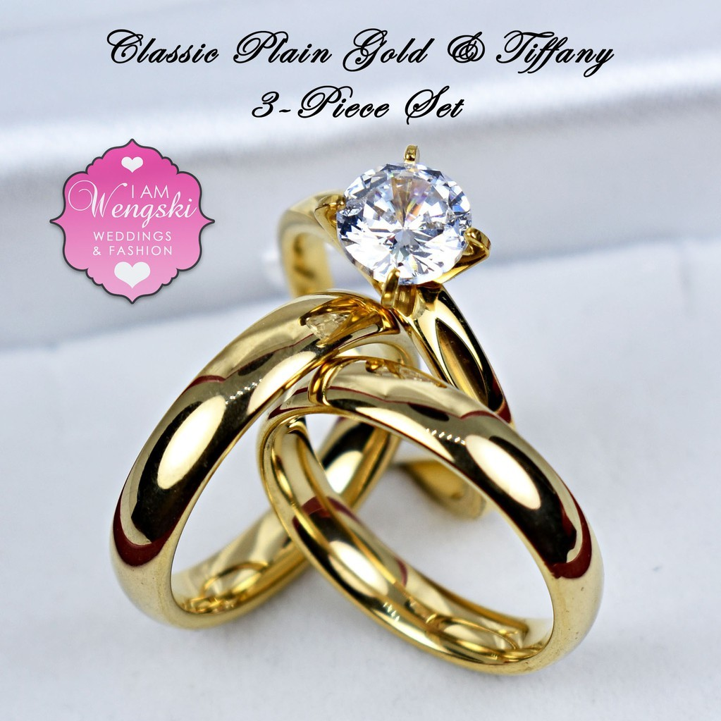 Stainless Steel Classic Plain Gold Wedding Ring Set Shopee Philippines