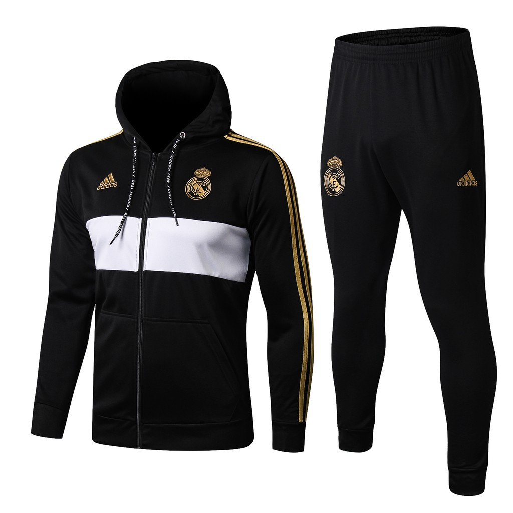 19 20 season Top Quality Hat Real Madrid black Jersey jacket Training Suit Top And Pants Suit
