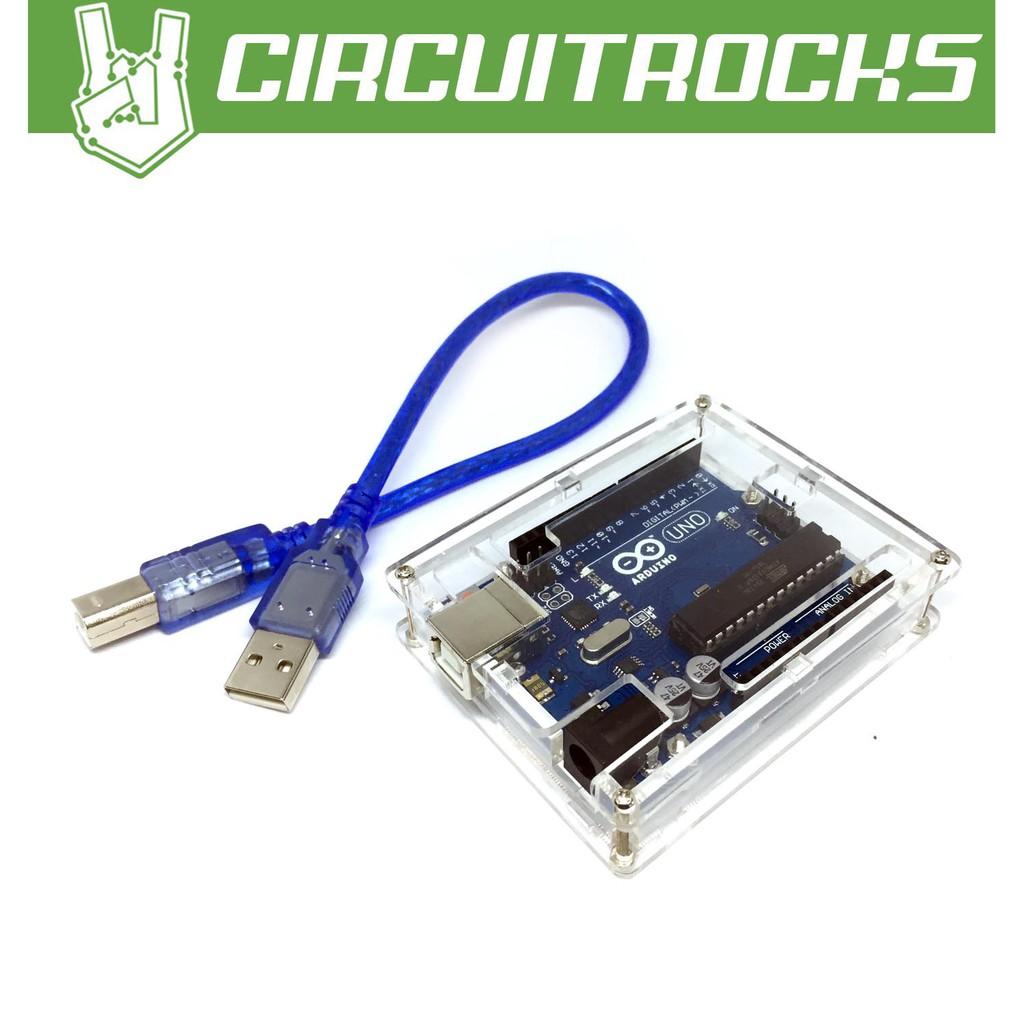 Arduino Uno w/ USB Cable + Acrylic Enclosure
