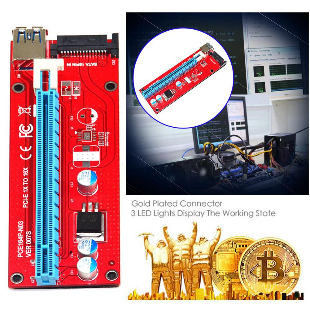 JES◆Mini Practical USB 3 0 164P PCI-E Express 1x to 16x Extender Riser Card  6Pin SATA Mining