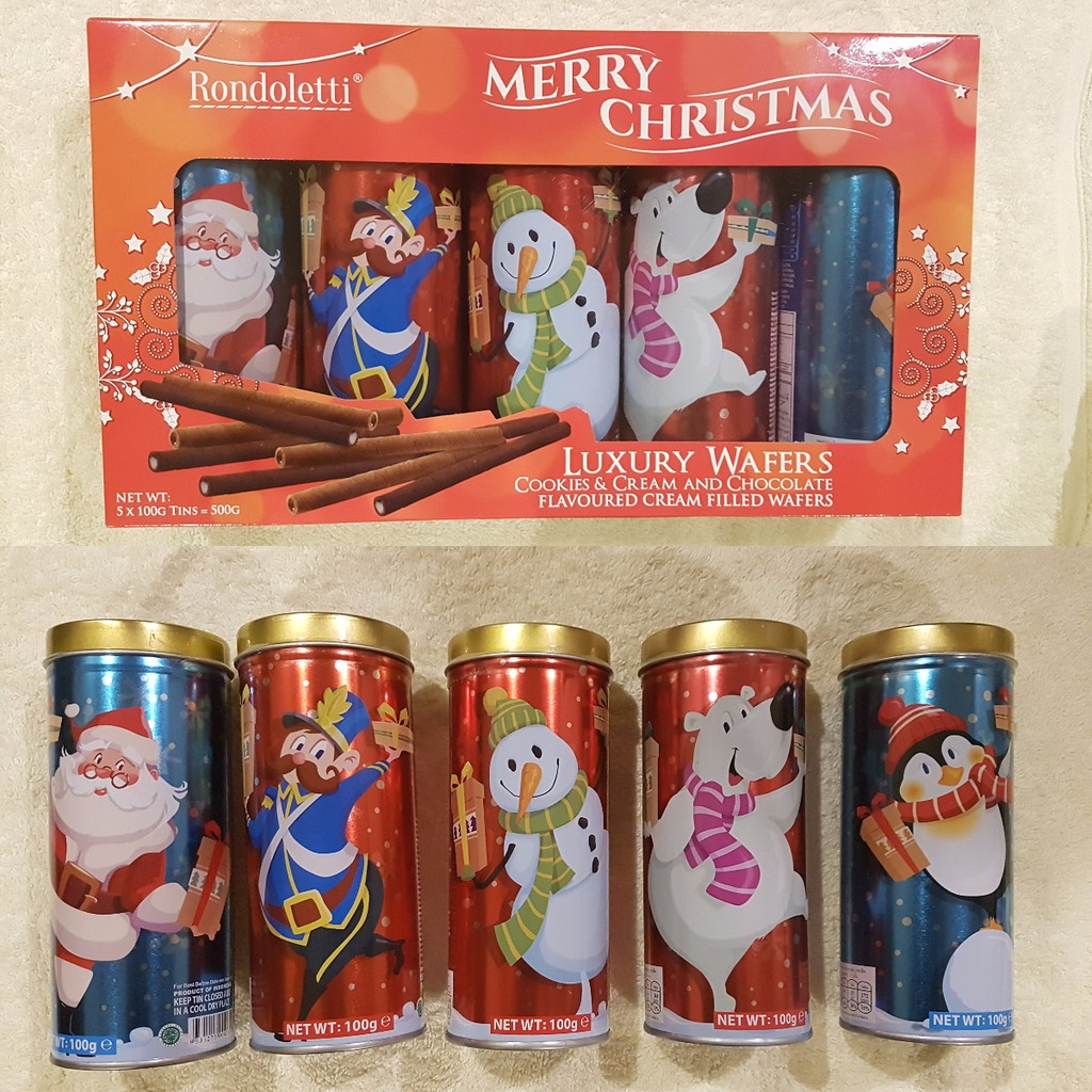 Rondoletti Luxury Wafers Christmas Pack 5 X 100g Tins