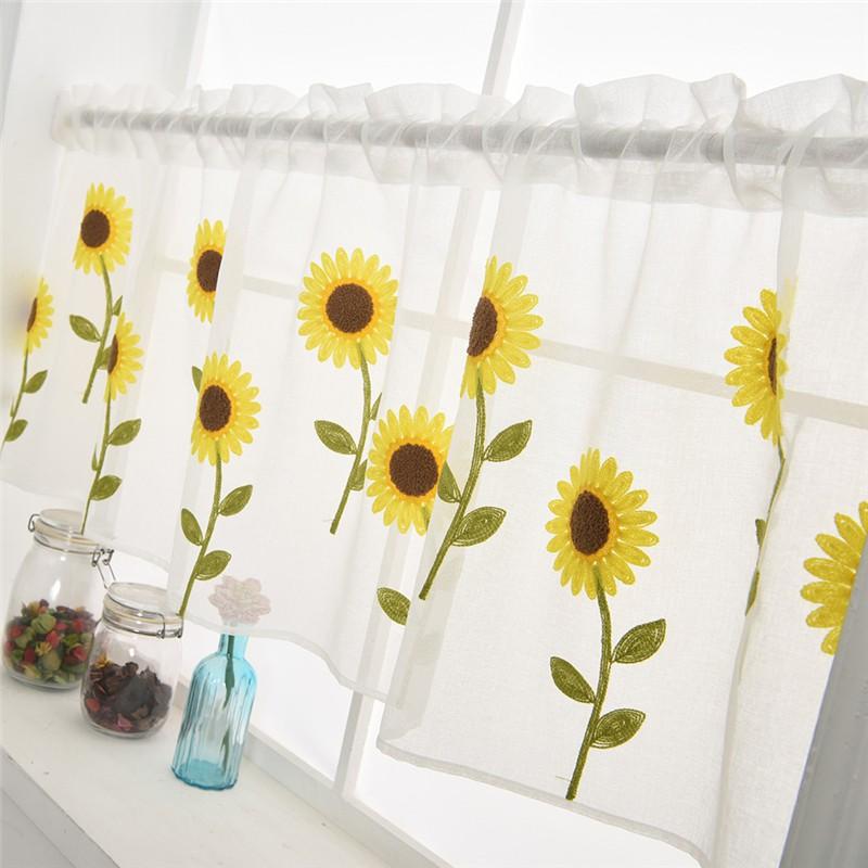 FG Daisy Embroidery Curtain Home Kitchen Window Half Sheer Panel Home Decor