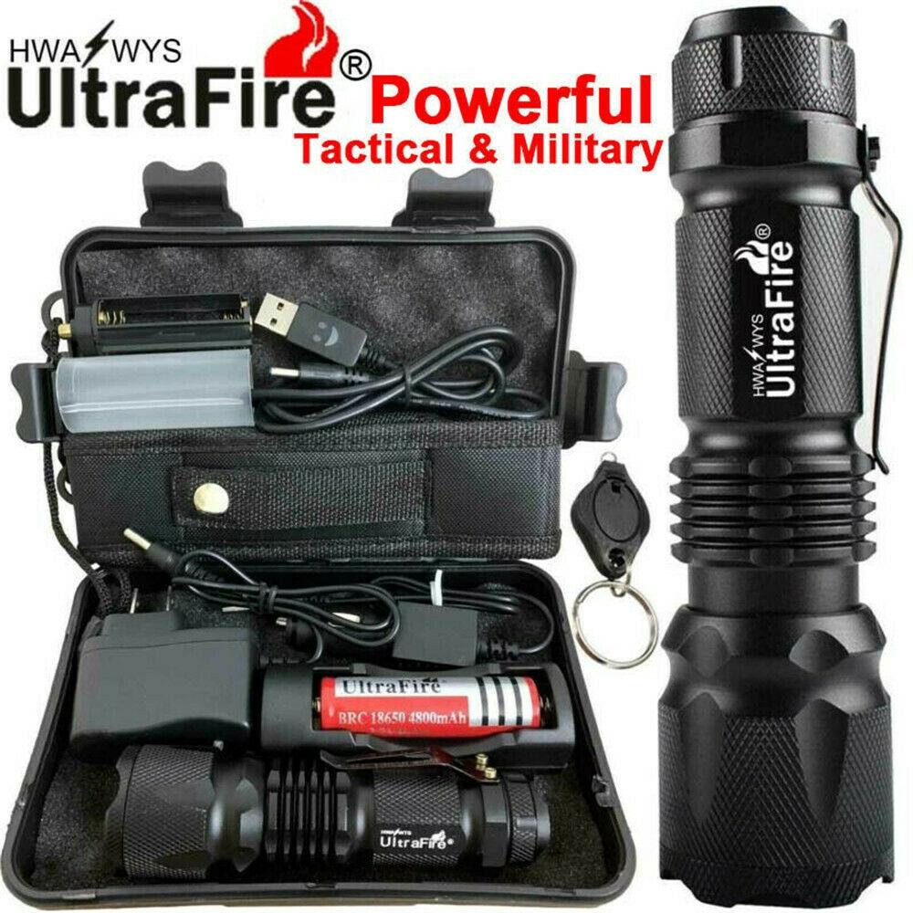 Tactical 150000LM CREE XML T6 LED Flashlight 18650 Torch Work Light Headlamp