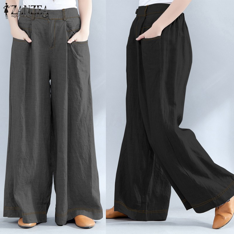6819d004aac ZANZEA Women Loose Fit Wide Leg High Waist Trousers