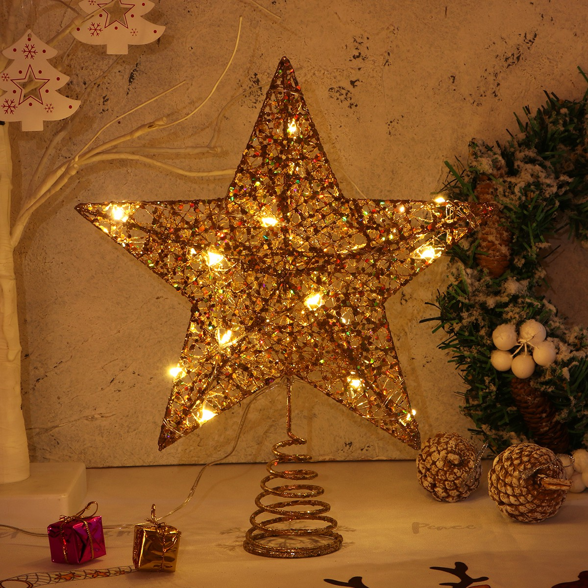 25 X 30cm Christmas Gift Christmas Tree Topper Star Warm Lights For Christmas Party Decoration Shopee Philippines