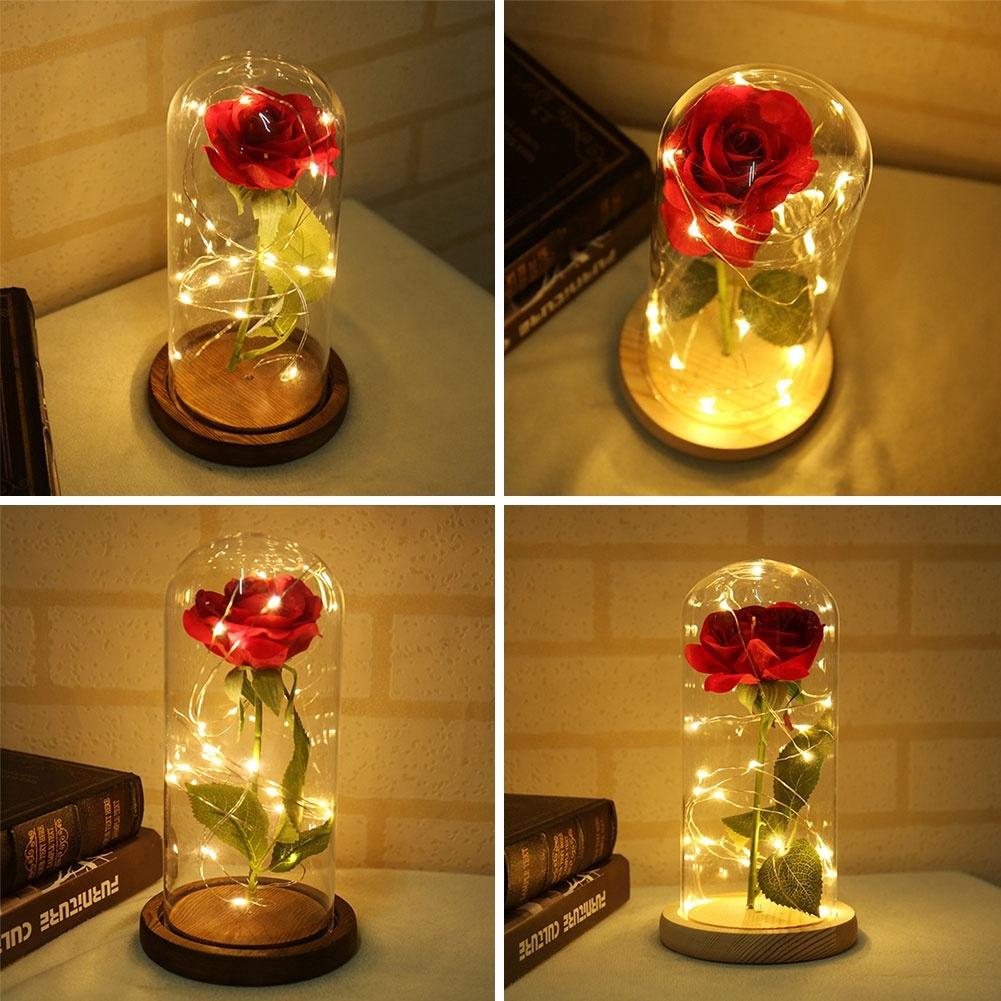ZE】LED Light Eternal Flower Preserved Red Fresh Rose Glass | Shopee  Philippines