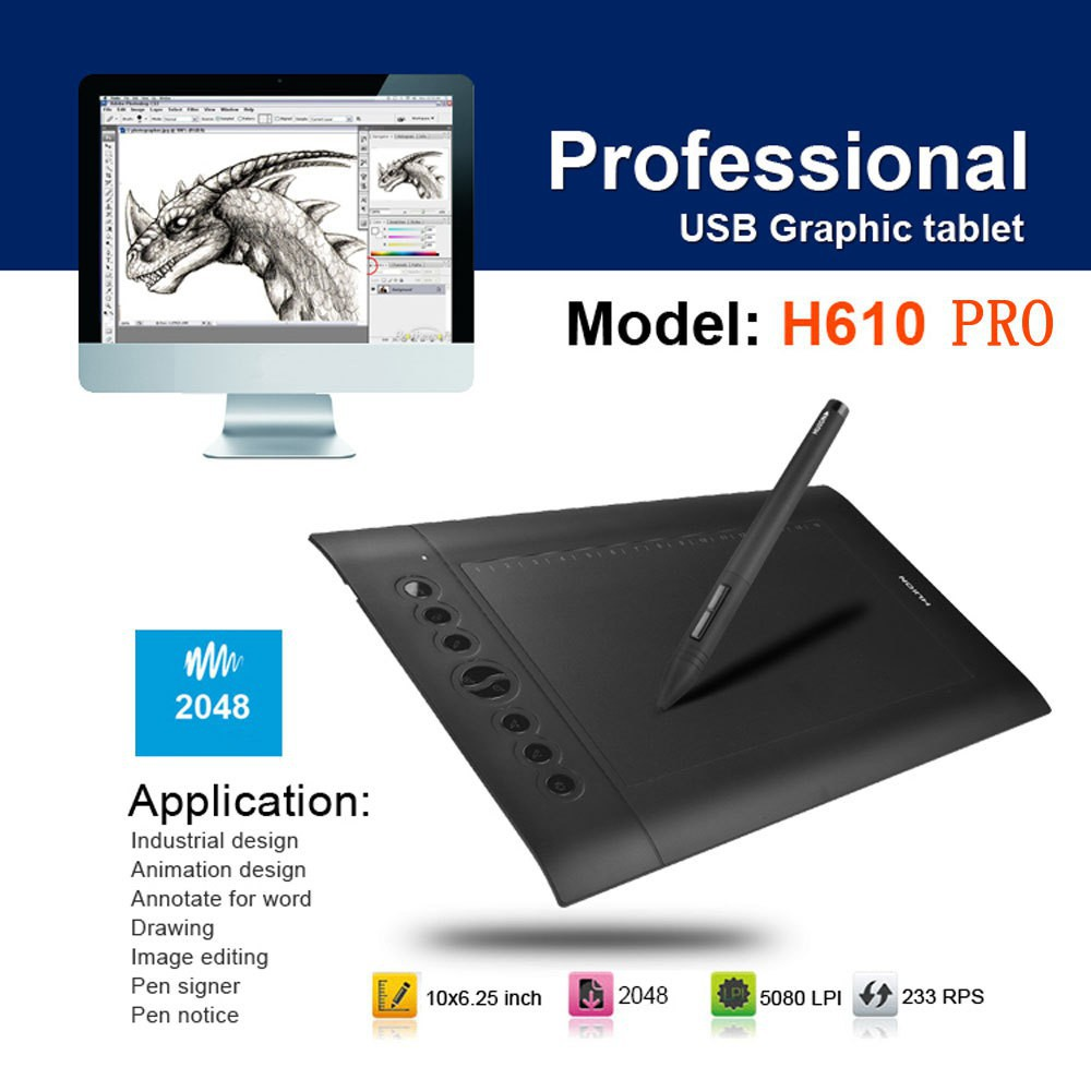 Huion H610 Pro Professional USB Graphic Tablet (Black)