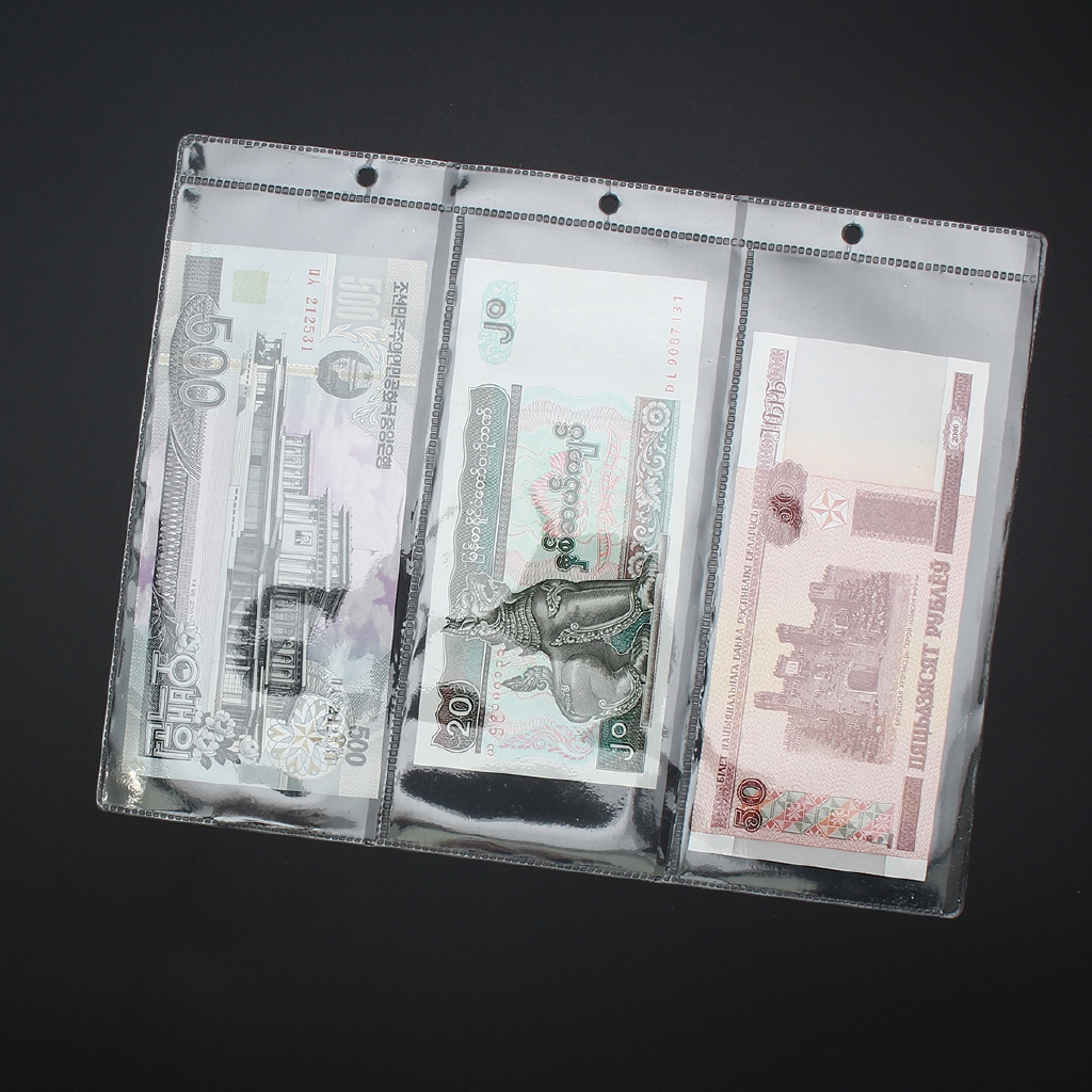 Set of Money Transparent Collection Album Pages Money Bill Note Currency Holder