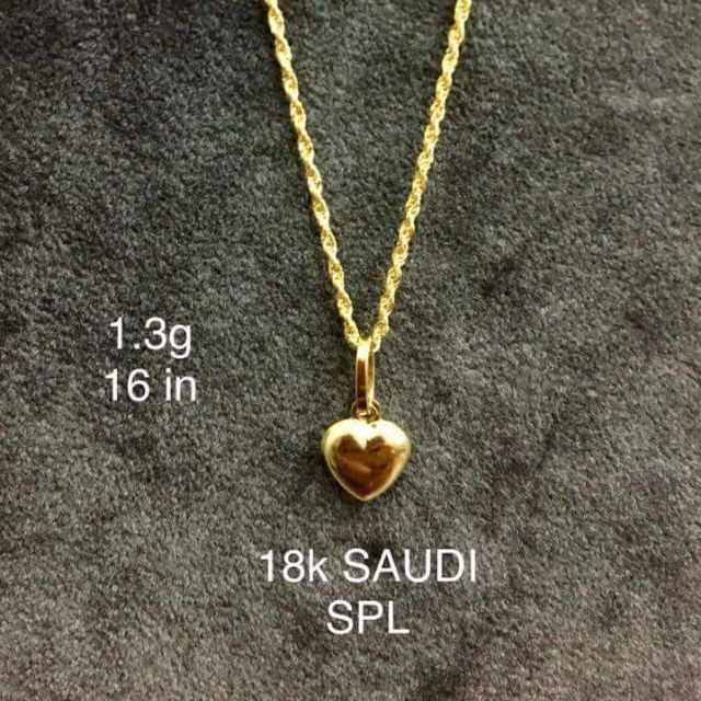 18k Saudi Gold Heart Pendant And Rope Chain Shopee Philippines