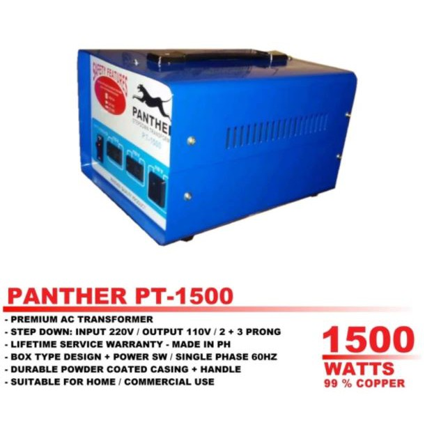 Panther PT-1500 Step Down Transformer 1500 Watts - 0 99