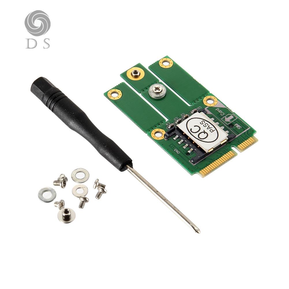 DS✐M 2 NGFF Key to PCI-E Adapter W/ SIM Slot Converter Card for 2/3/4G CDMA  GPS LTE