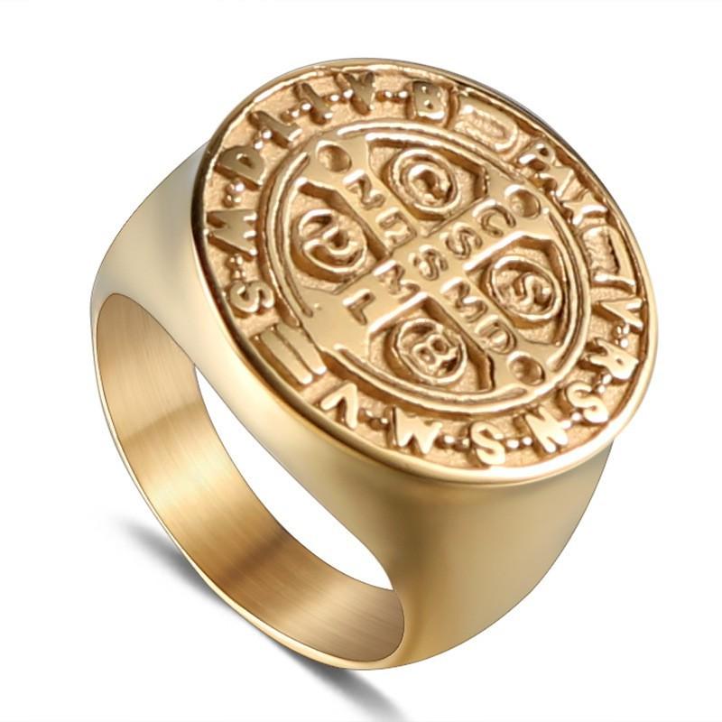 Saint Benedict St Exorcism Demon Protection Catholic Cross 14K Gold Plated Ring