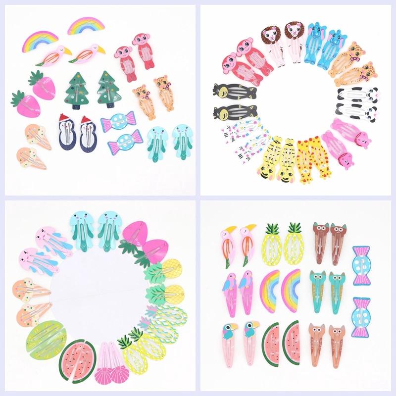 2 Pcs Cartoon Flower Hair Clips Snaps Girls Kids Hair Accessories 36 Designs