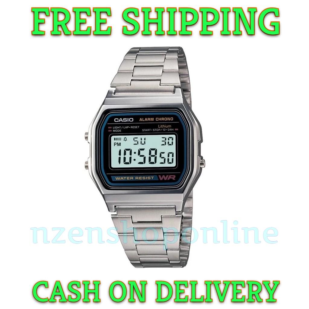 fa924857763 Original Casio A158WA-1DF Digital Silver Steel Watch A158
