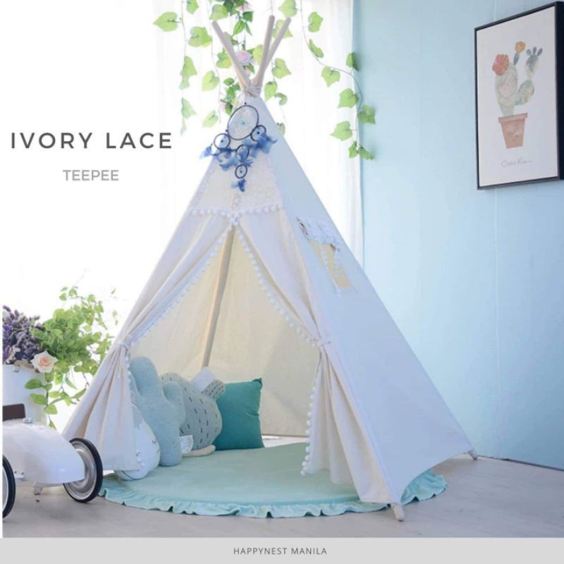 Four Size Can Include Red and Black Checked Mat and Teepee Banner Childrens Play Tent Kids Denim Teepee Custom Order