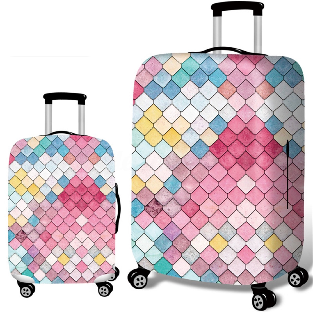 Flamingo Pineapple Travel Luggage Cover Stretchable Polyester Suitcase Protector Fits 18-20 Inches Luggage
