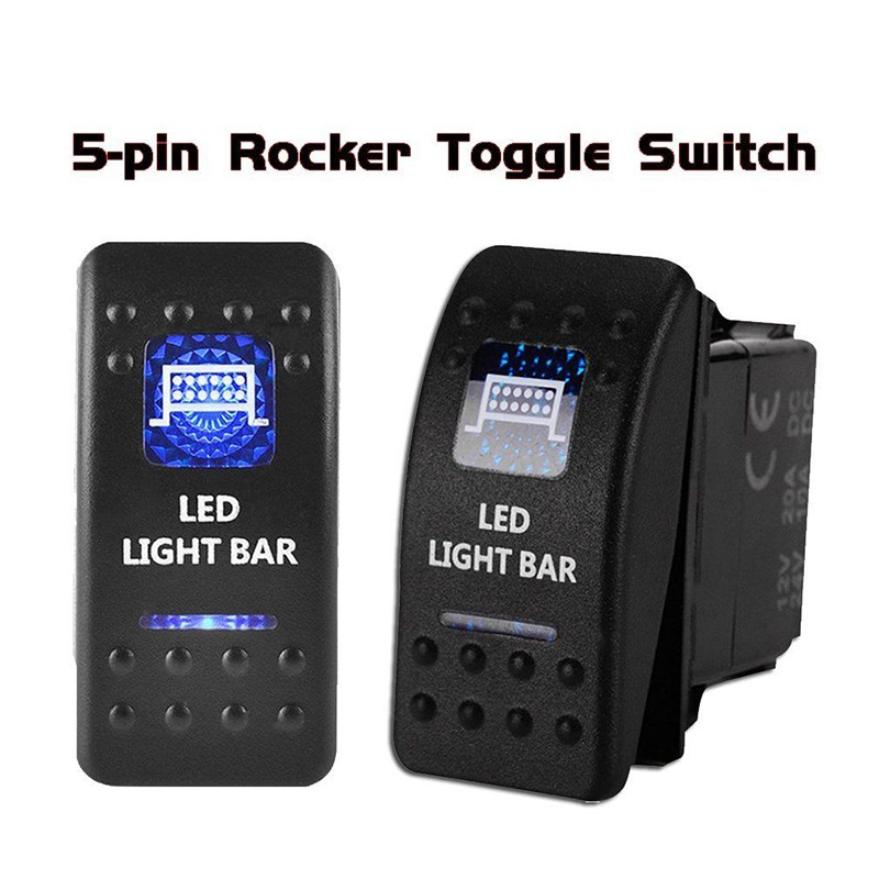 Waterproof Rocker Toggle Switch Blue LED Bumper Light Bar 12V 20A 5Pin Sales