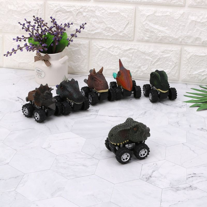New 4pcs Pull Back Dinosaur Cars Dino Cars Toys Big Wheels Kids Christmas Gift